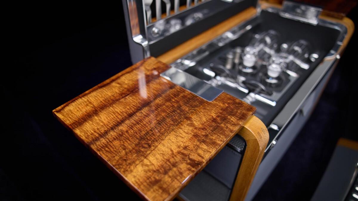 Rolls-Royce Phantom champagne fridge with Koa wood panel