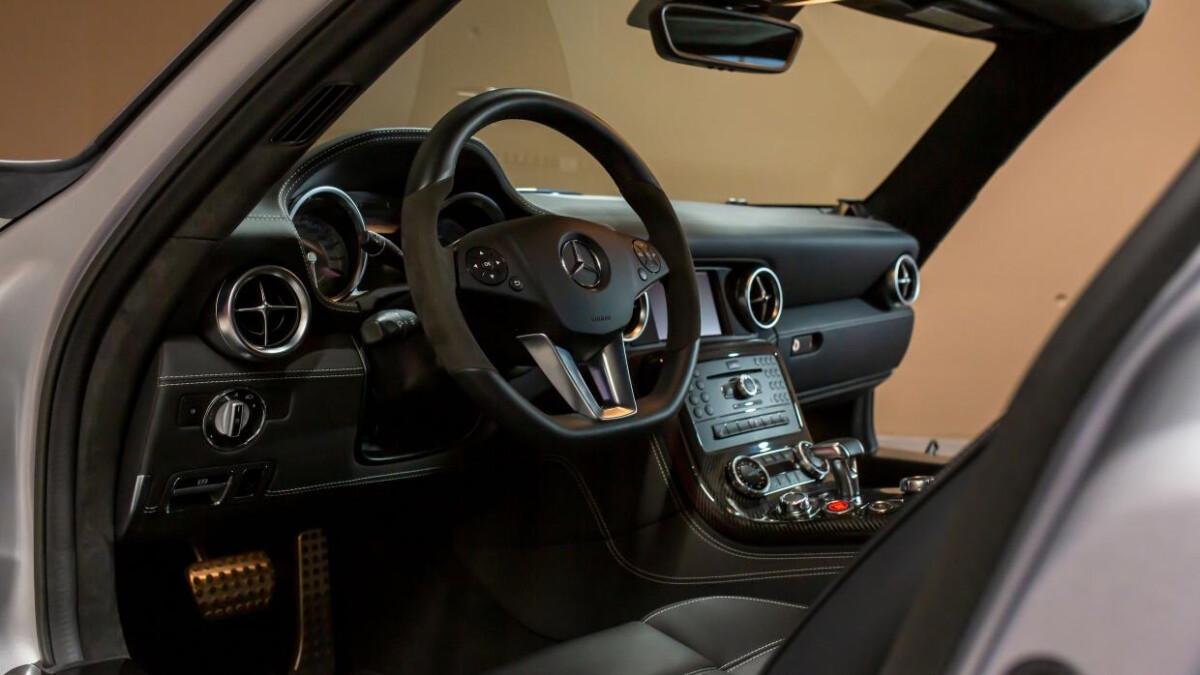 Mercedes-Benz SLS AMG interior. dashboard, steering wheel