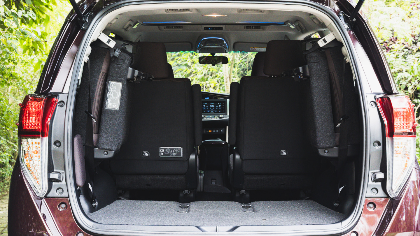 The 2021 Toyota Innova rear seats folded for storage space