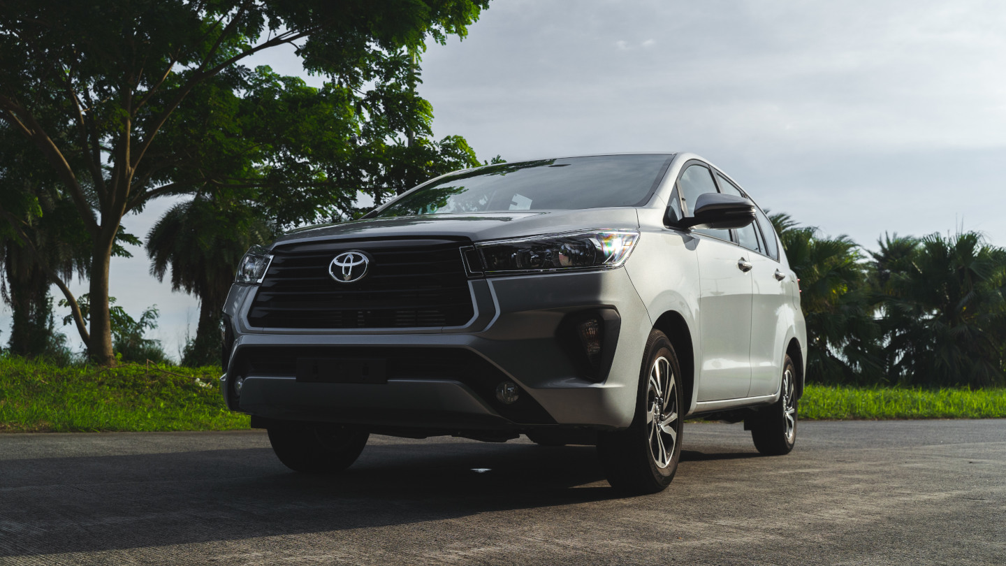 The 2021 Toyota Innova in Freedom White Low Angle Front View