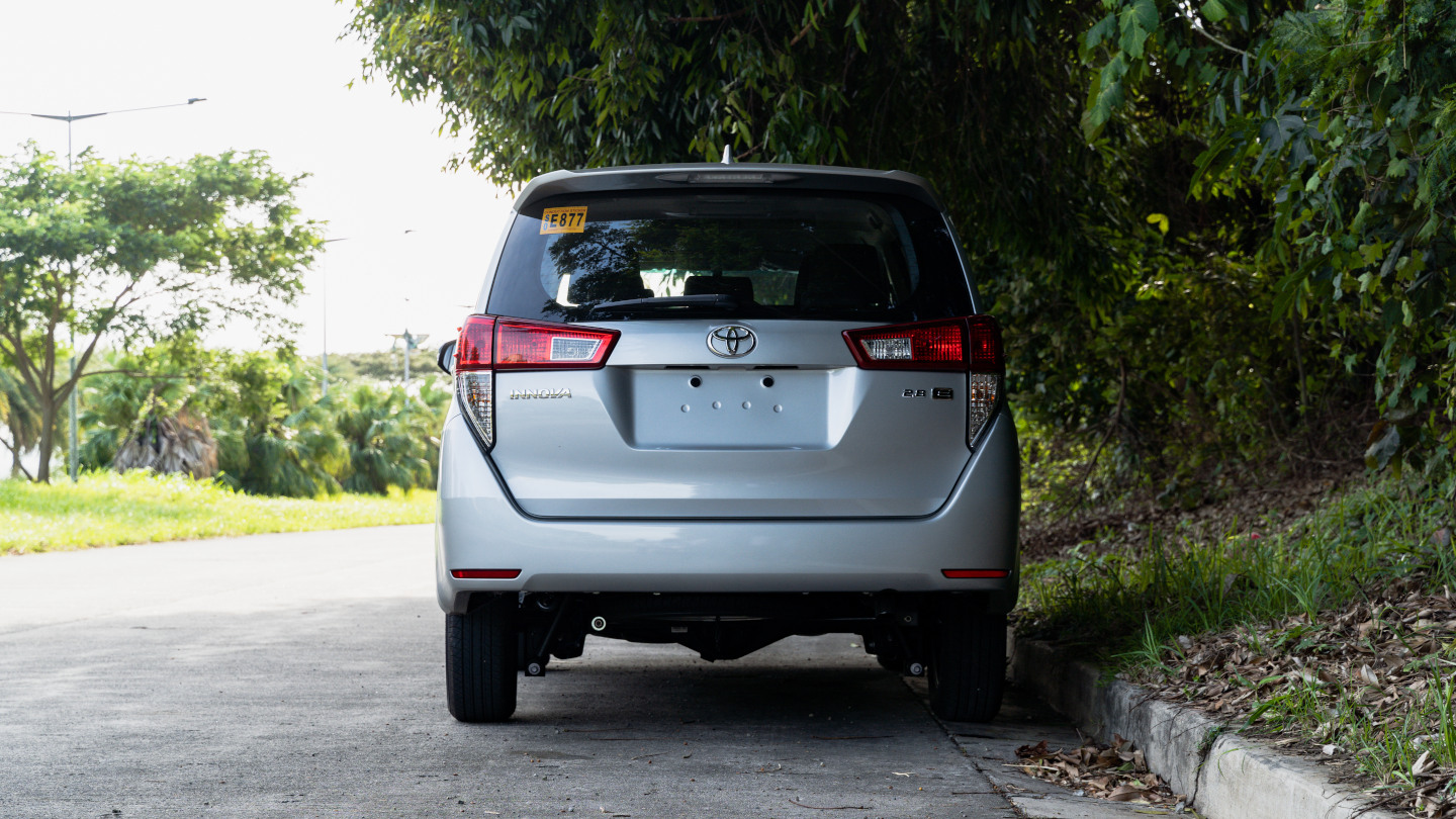 The 2021 Toyota Innova in Freedom White Rear View