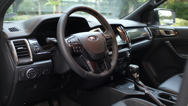 Ford Ranger Wildtrak steering wheel and dashboard