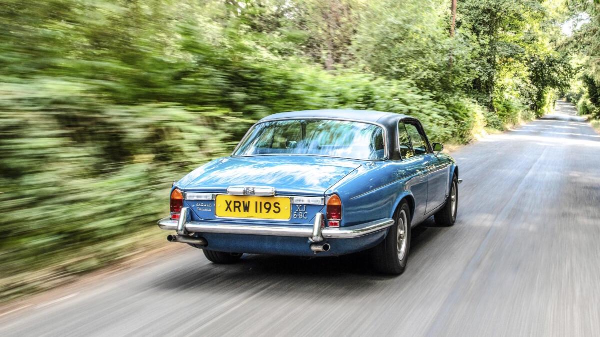 The Jaguar XJ on the road
