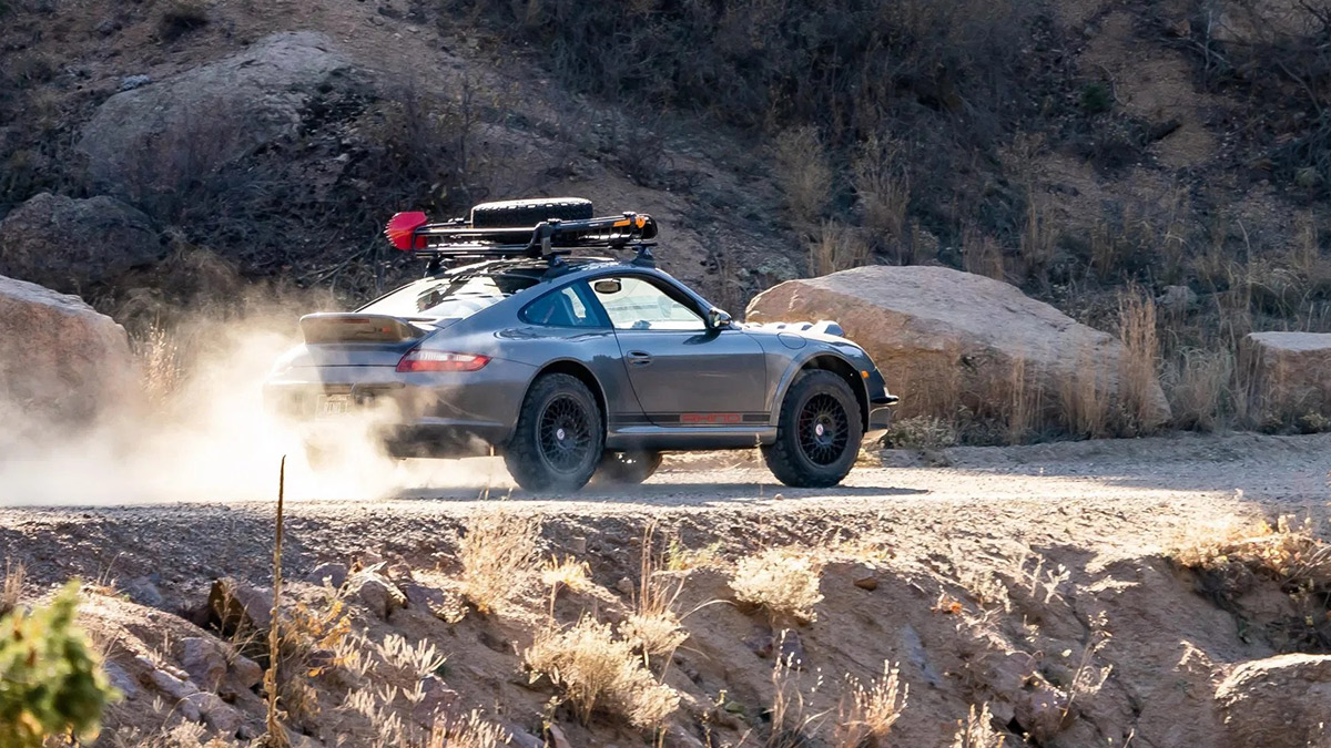 A Safari-Styled Porsche 911 on the road