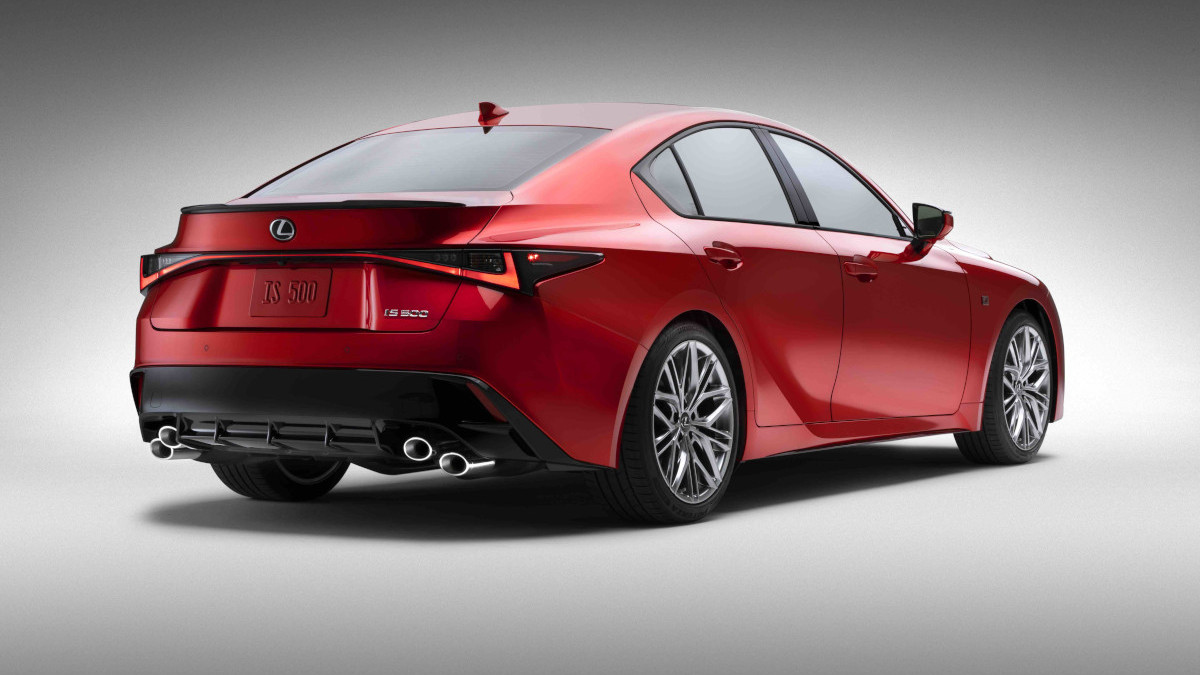 2022 Lexus IS500 F Sport Performance angled rear view