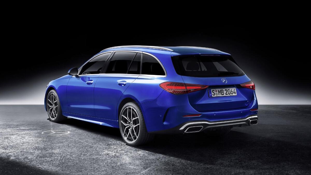 Mercedes-Benz C-Class Blue Rear Angle