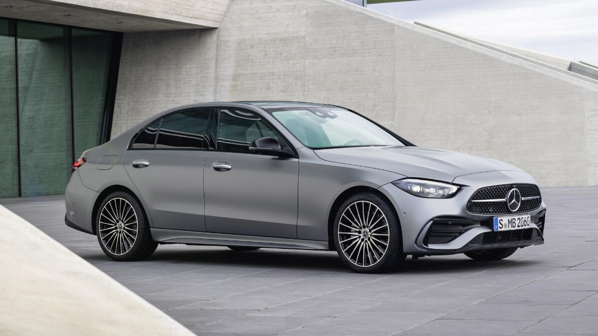 Mercedes-Benz C-Class in Grey, parked