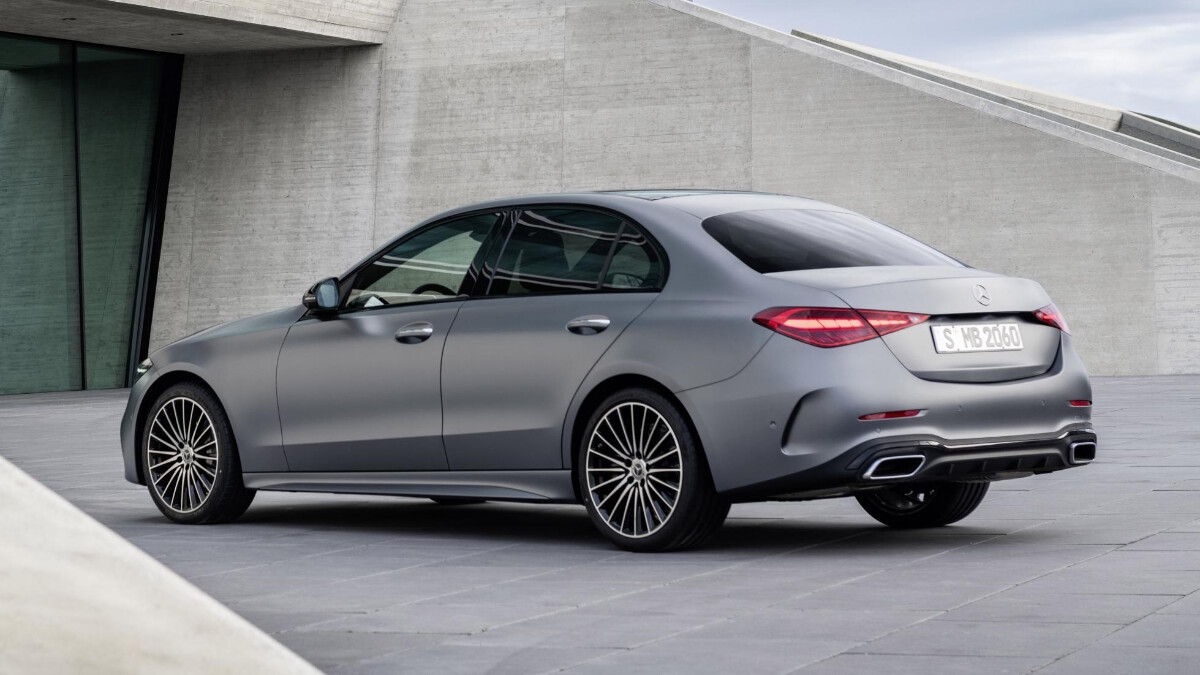 Mercedes-Benz C-Class in Grey, parked alternative angle