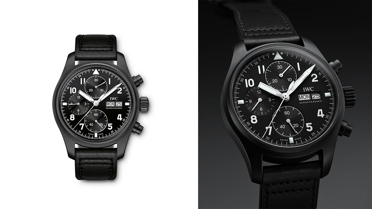"""IWC Pilot's Watch Chronograph Edition """"Tribute to 3705"""", black and white backgrounds"""