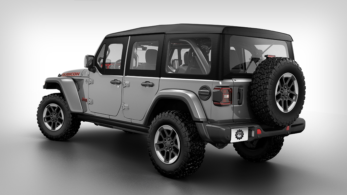 The Jeep Wrangler angled rear view