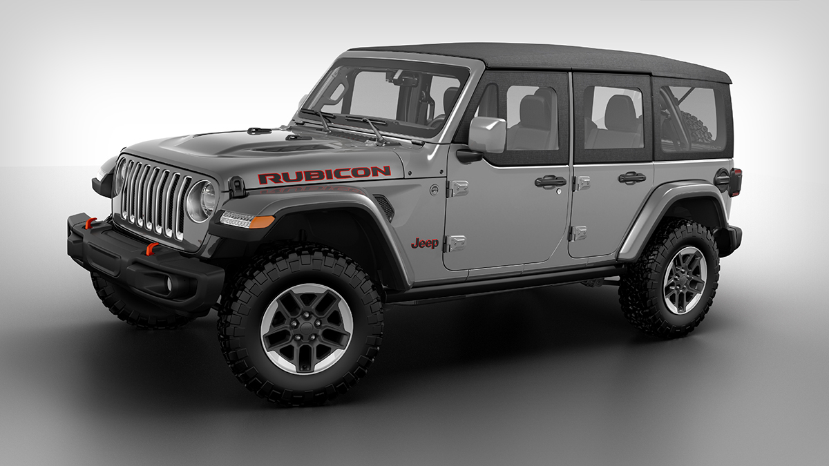 The Jeep Wrangler angled front view