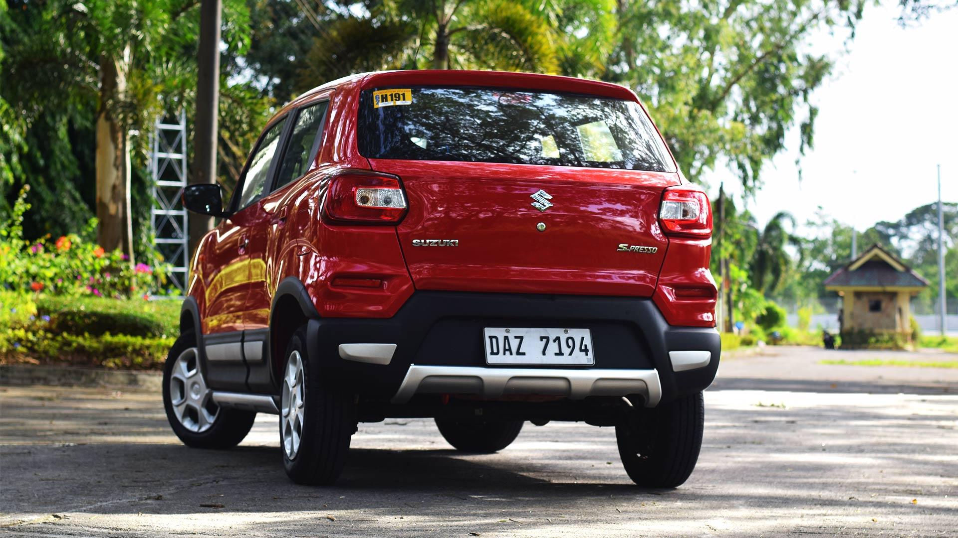 The Suzuki S-Presso angled rear view