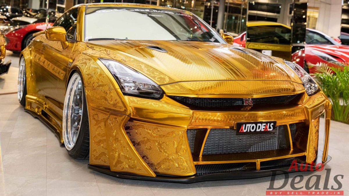 Gold-Plated Nissan GT-R angled front view