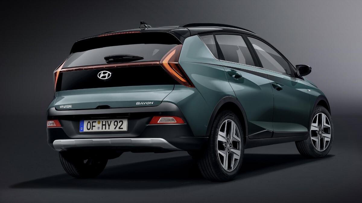 The Hyundai Bayon angled rear view