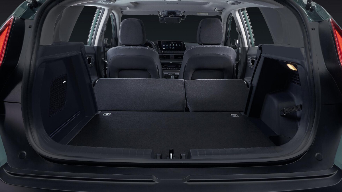 The Hyundai Bayon trunk and storage with folded rear seats