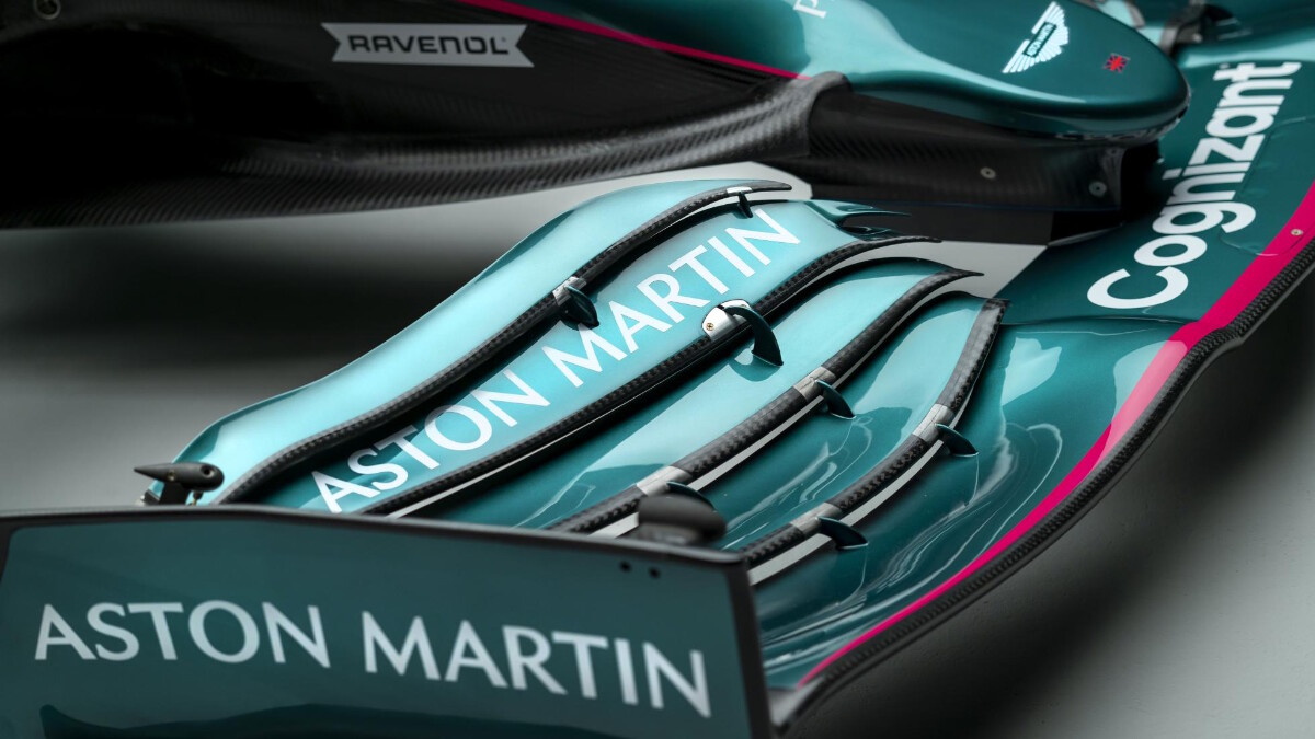 The Aston Martin AMR21 front close up