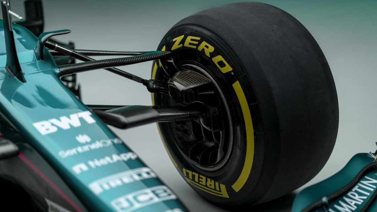 The Aston Martin AMR21 tire close up