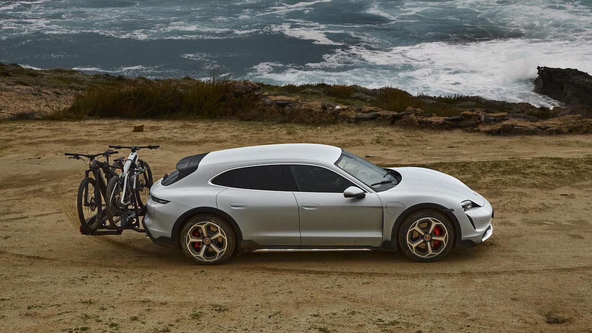 The Porsche Taycan with hatch-mounted bike rack
