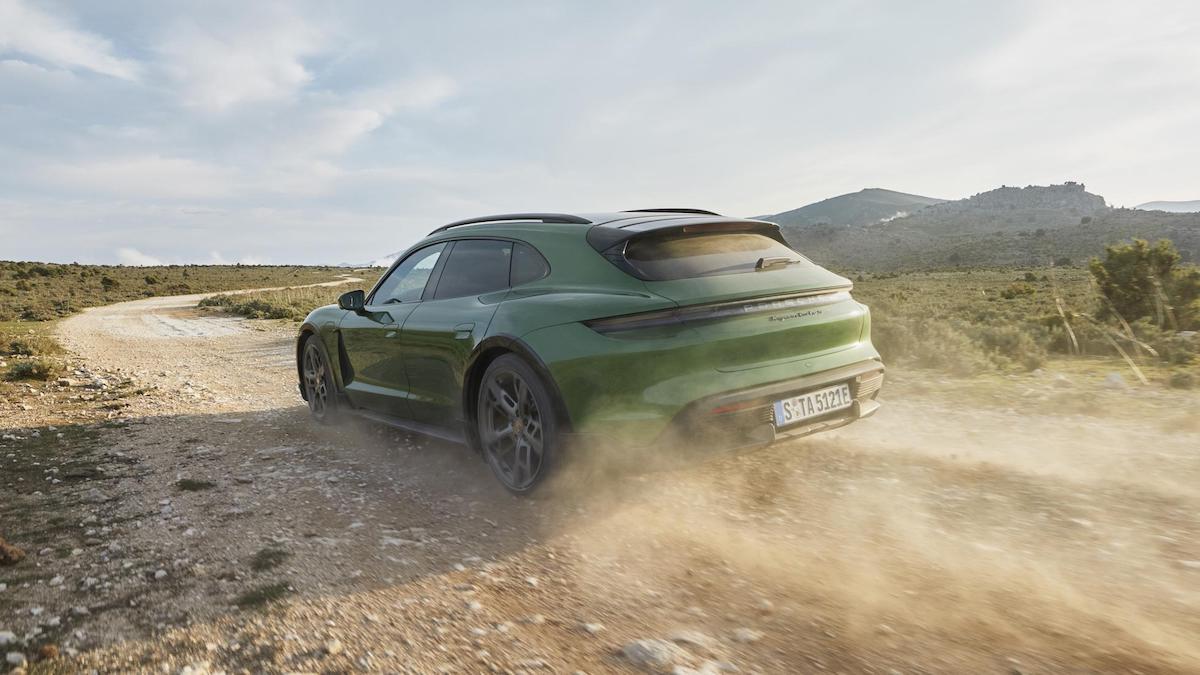 The Porsche Taycan on rough roads