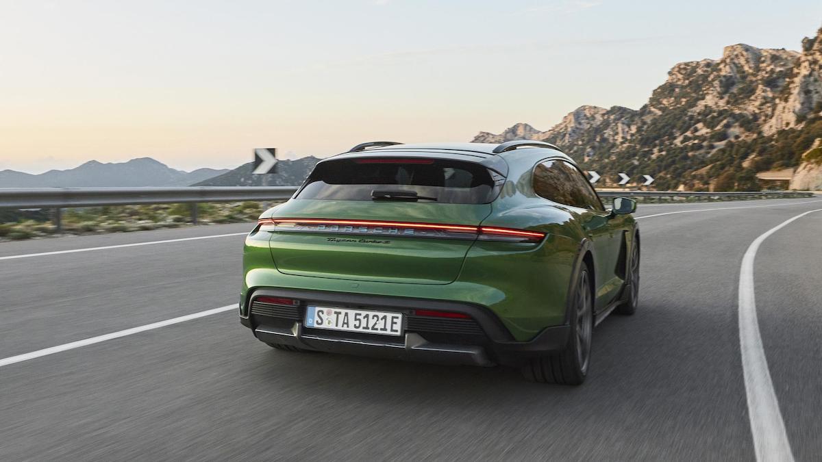 The Porsche Taycan on asphalt roads