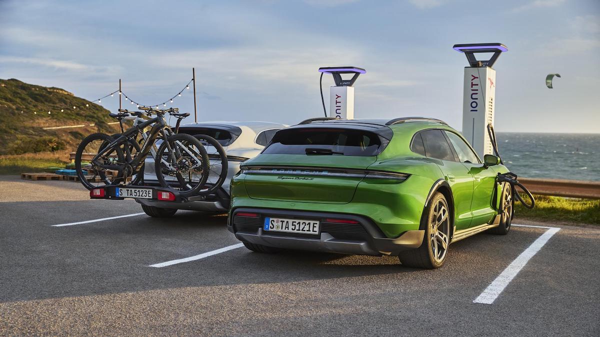 The Porsche Taycan parked
