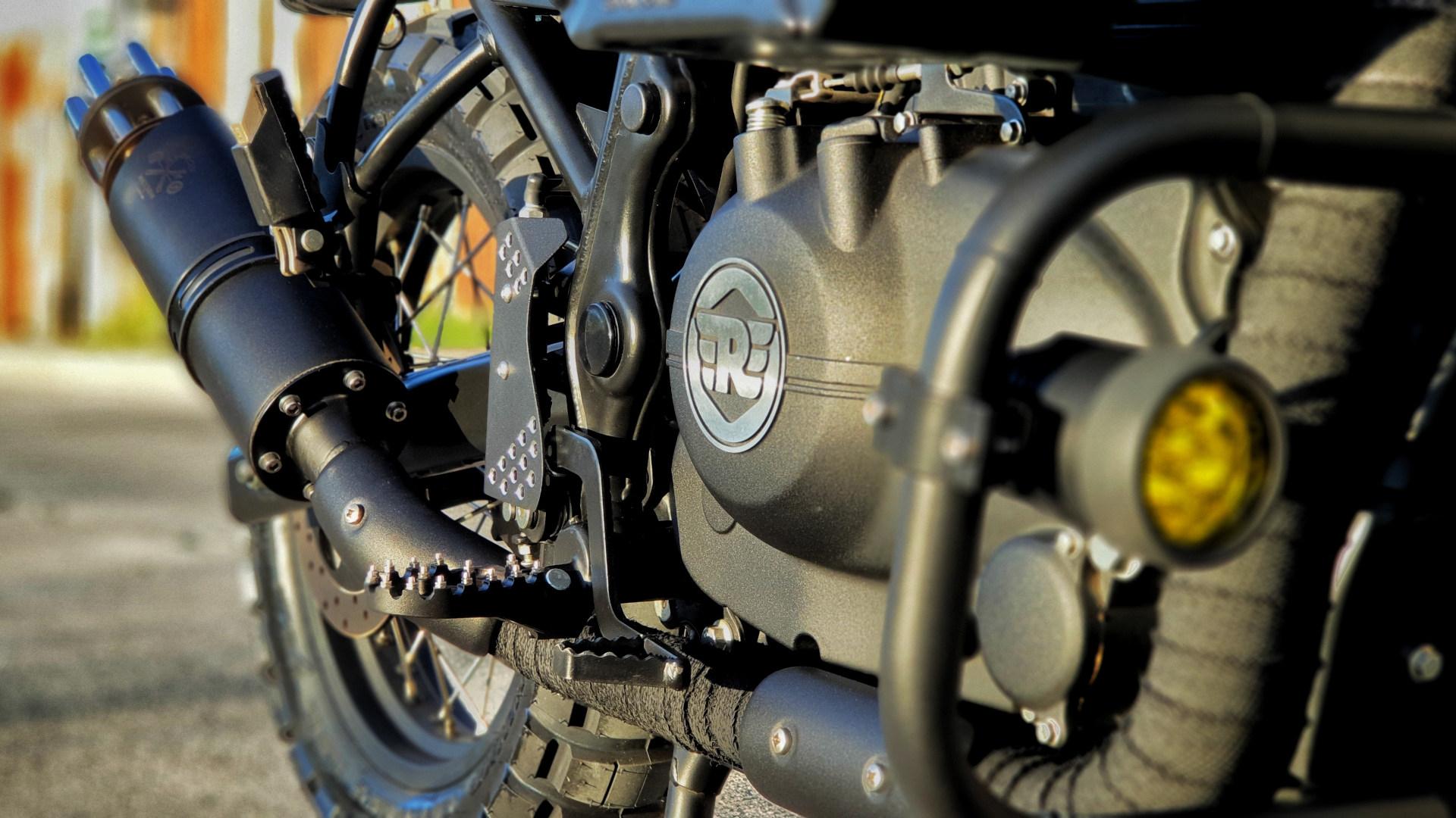 Iron Macchina Customs' Royal Enfield Himalayan engine and exhaust