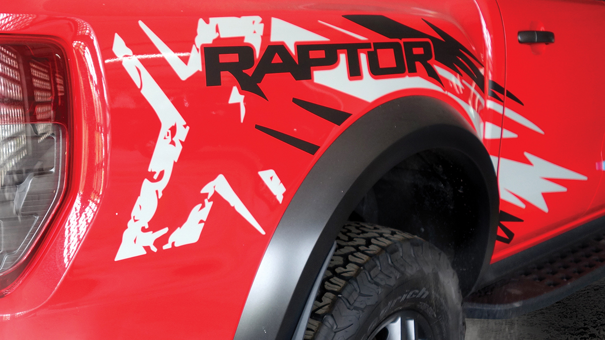 The Ford Ranger Raptor X Special Edition decal