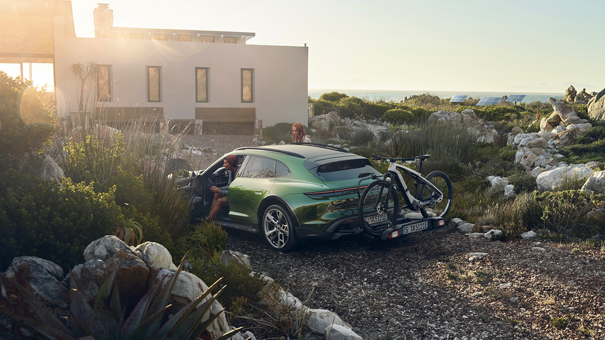 The Porsche Taycan with a Hatch Mounted Bike Rack