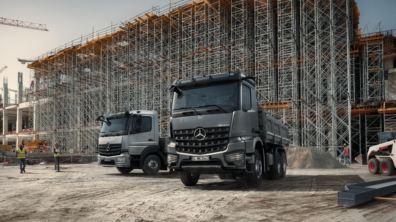 The Mercedes-Benz Arocs Tipper in a Construction Site