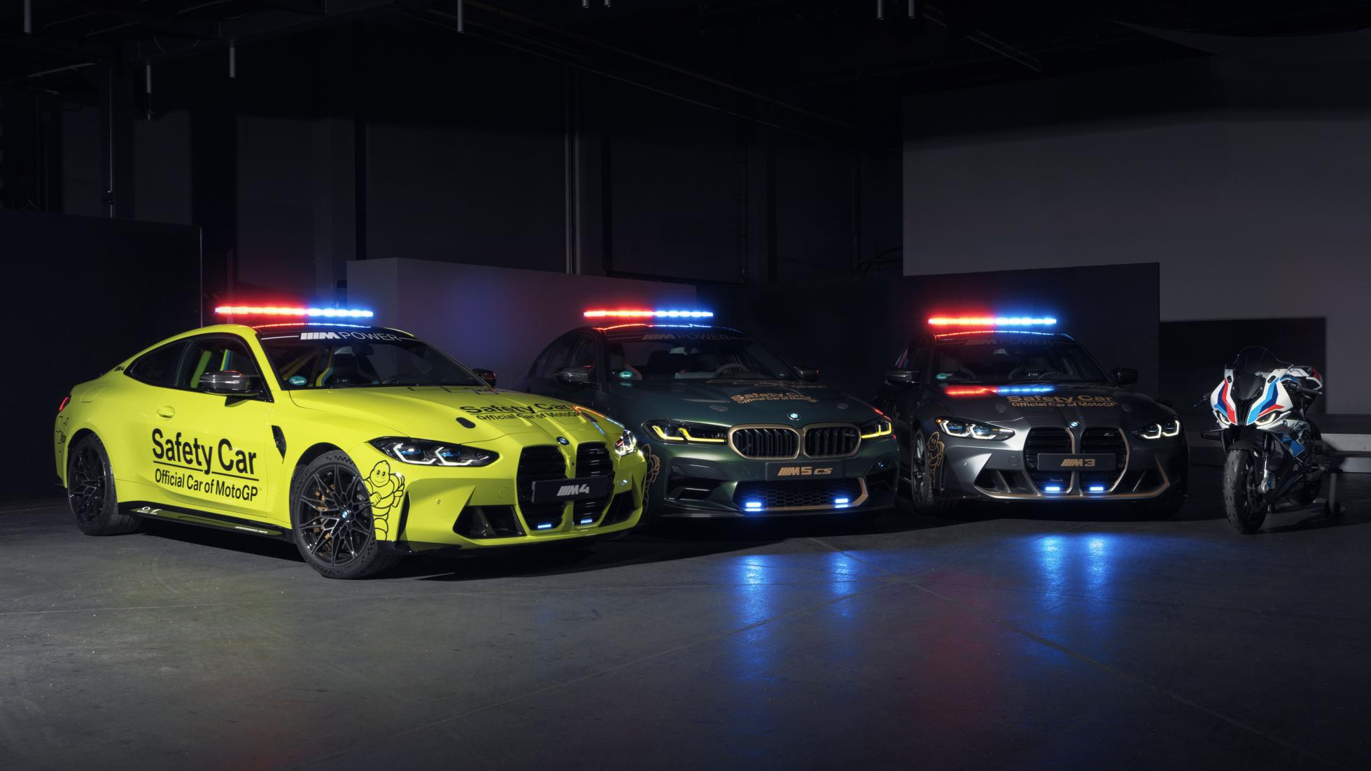 BMW's M3, M4 Competition, and M5 CS dressed up as MotoGP safety cars.