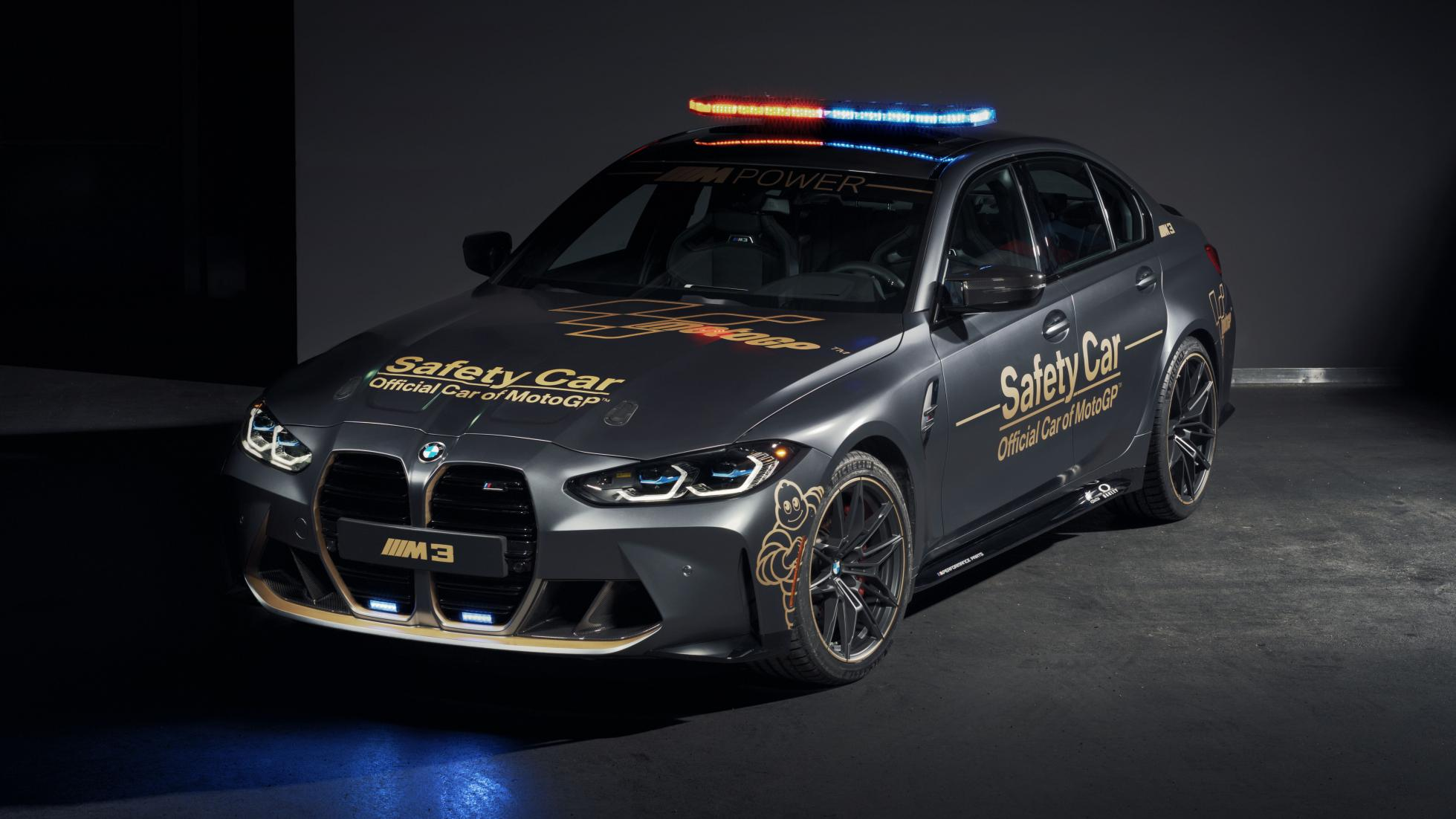 The BMW M3 as a MotoGP safety car, front alternative angle