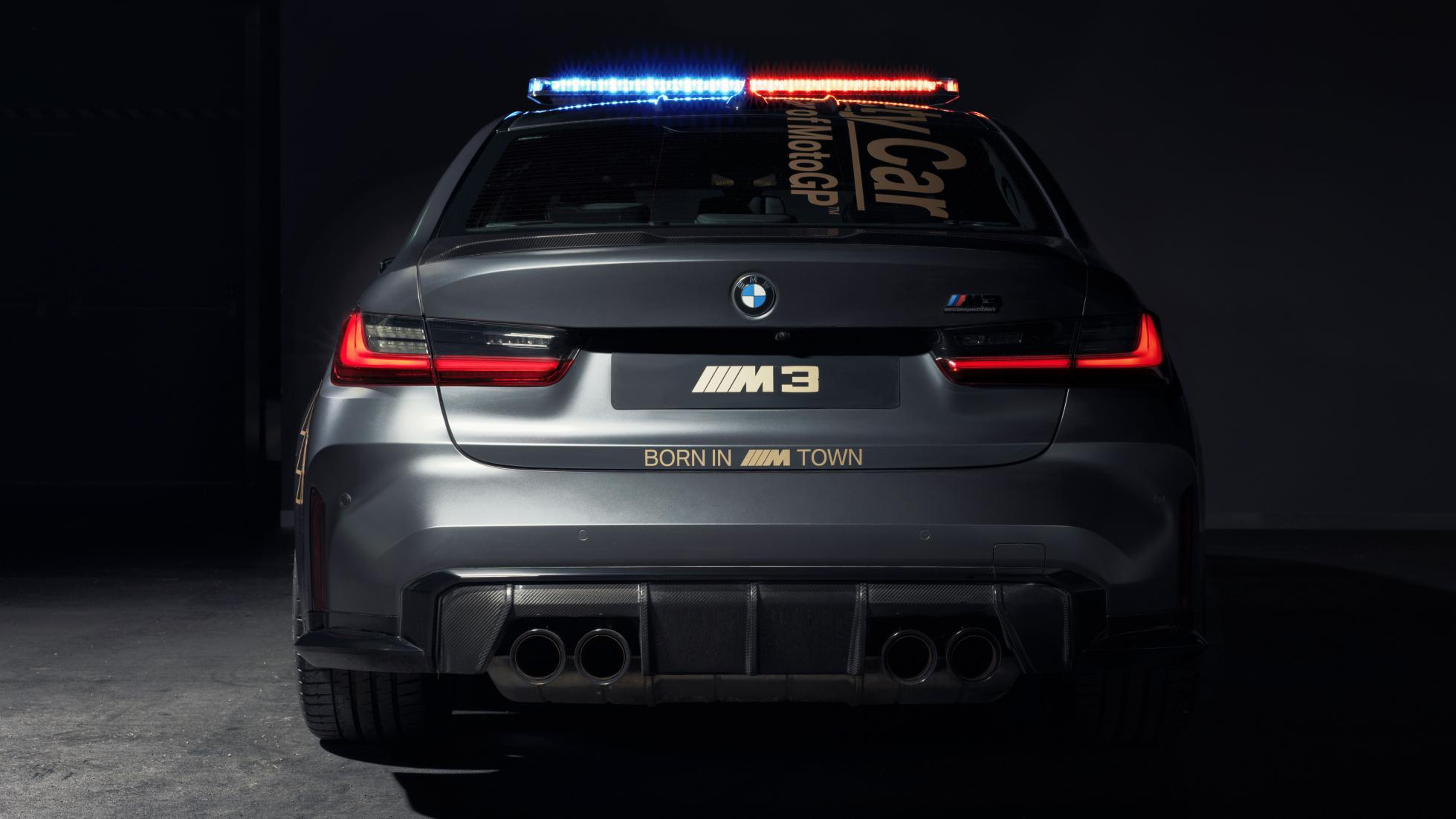 The BMW M3 as a MotoGP safety car, rear view