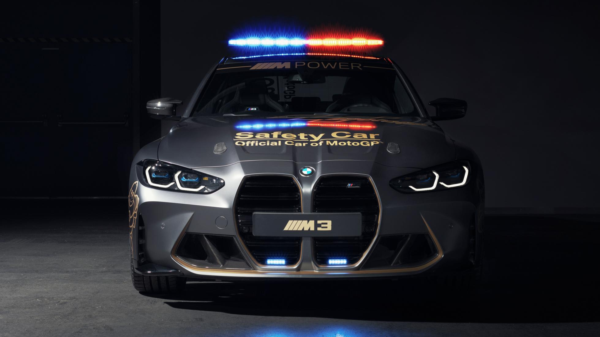 The BMW M3 as a MotoGP safety car, front view