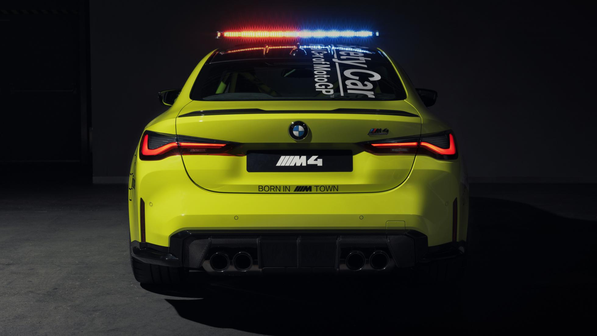 The BMW M4 as a MotoGP safety car, rear view
