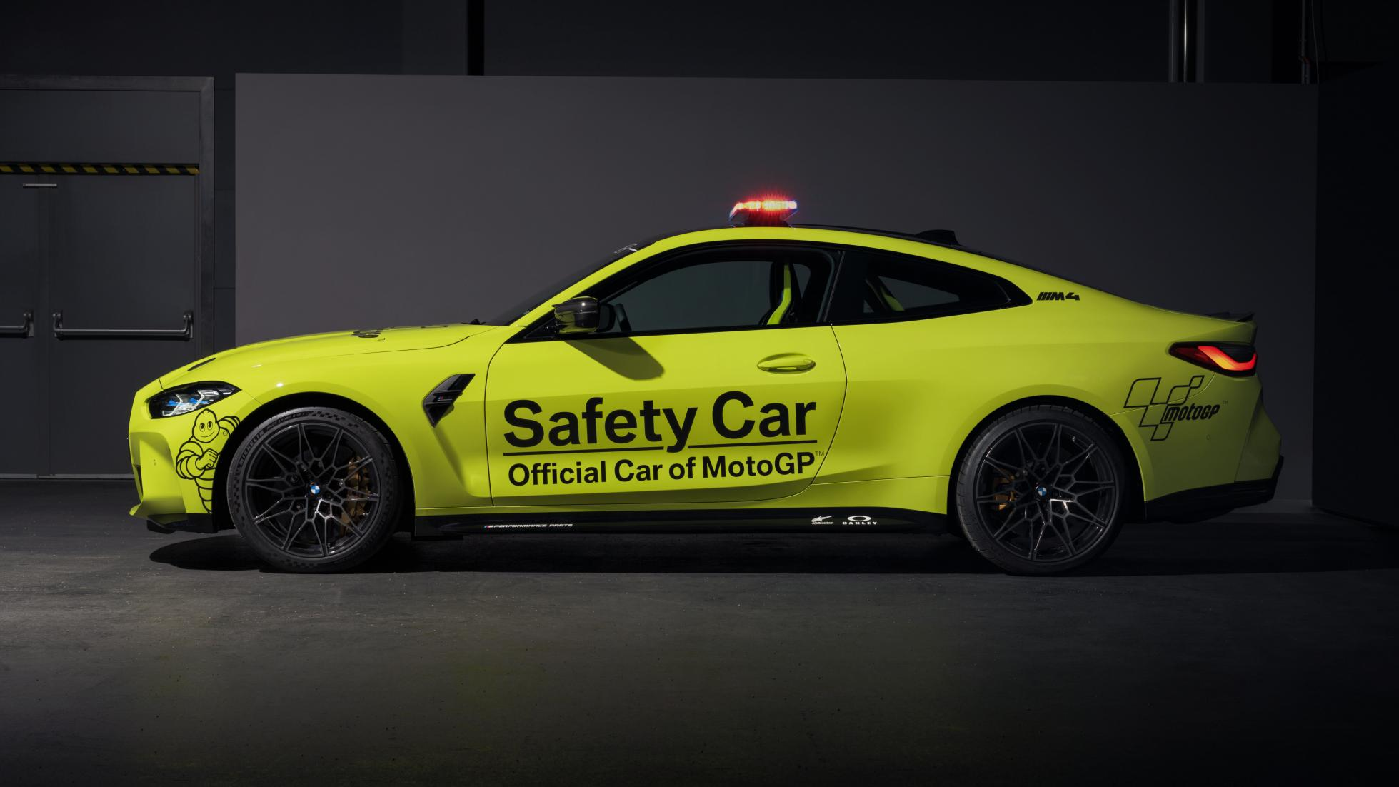 The BMW M4 as a MotoGP safety car, profile