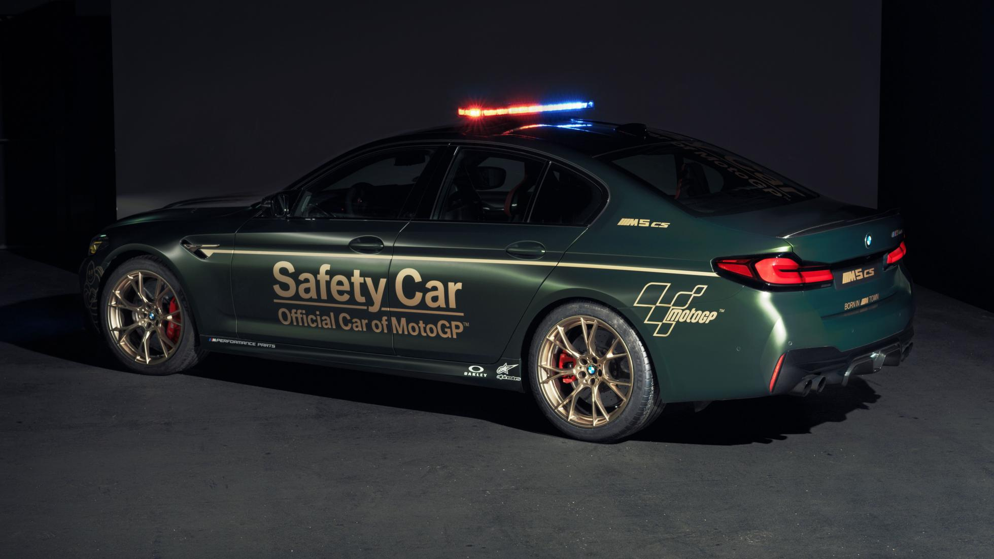 The BMW M5 as a MotoGP safety car, rear alternative angle