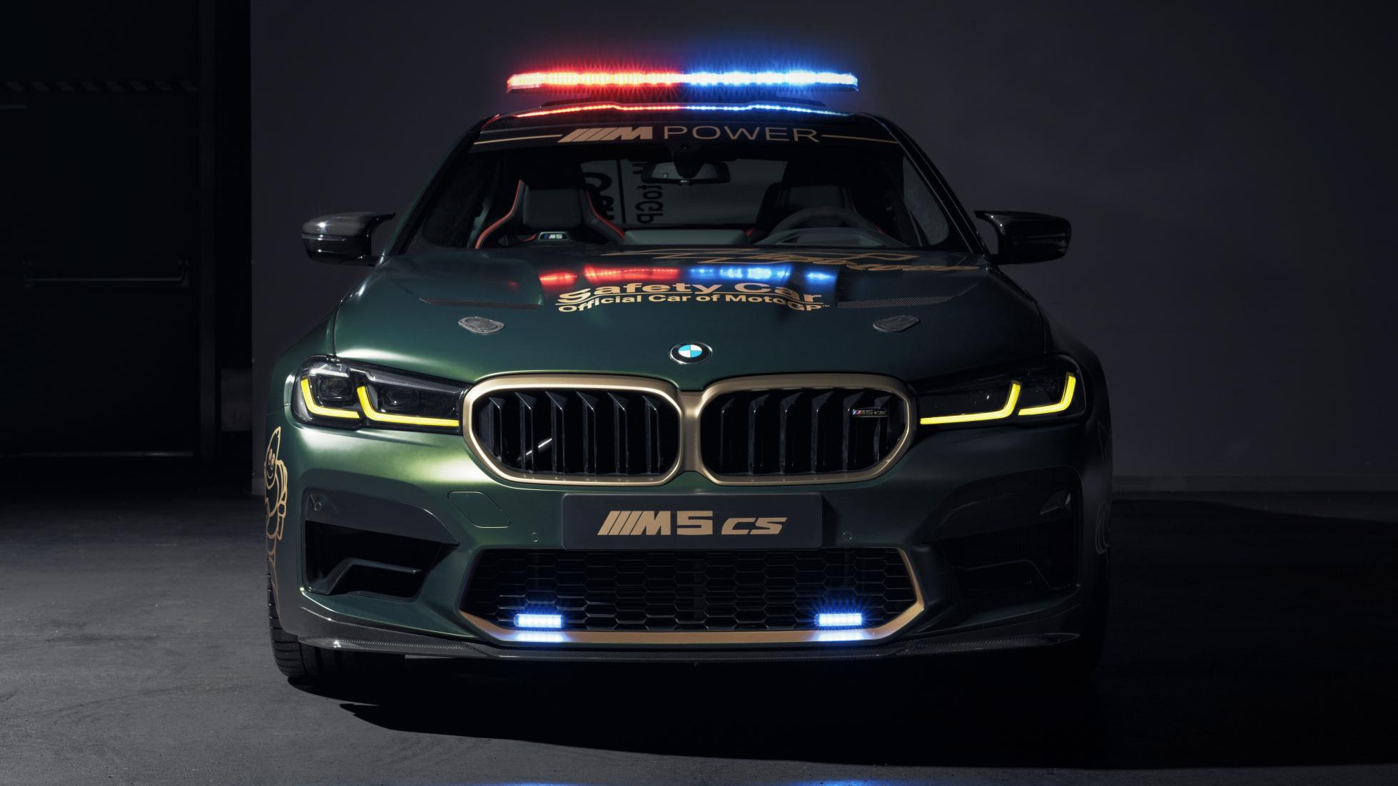 The BMW M5 CS as a MotoGP safety car, front view