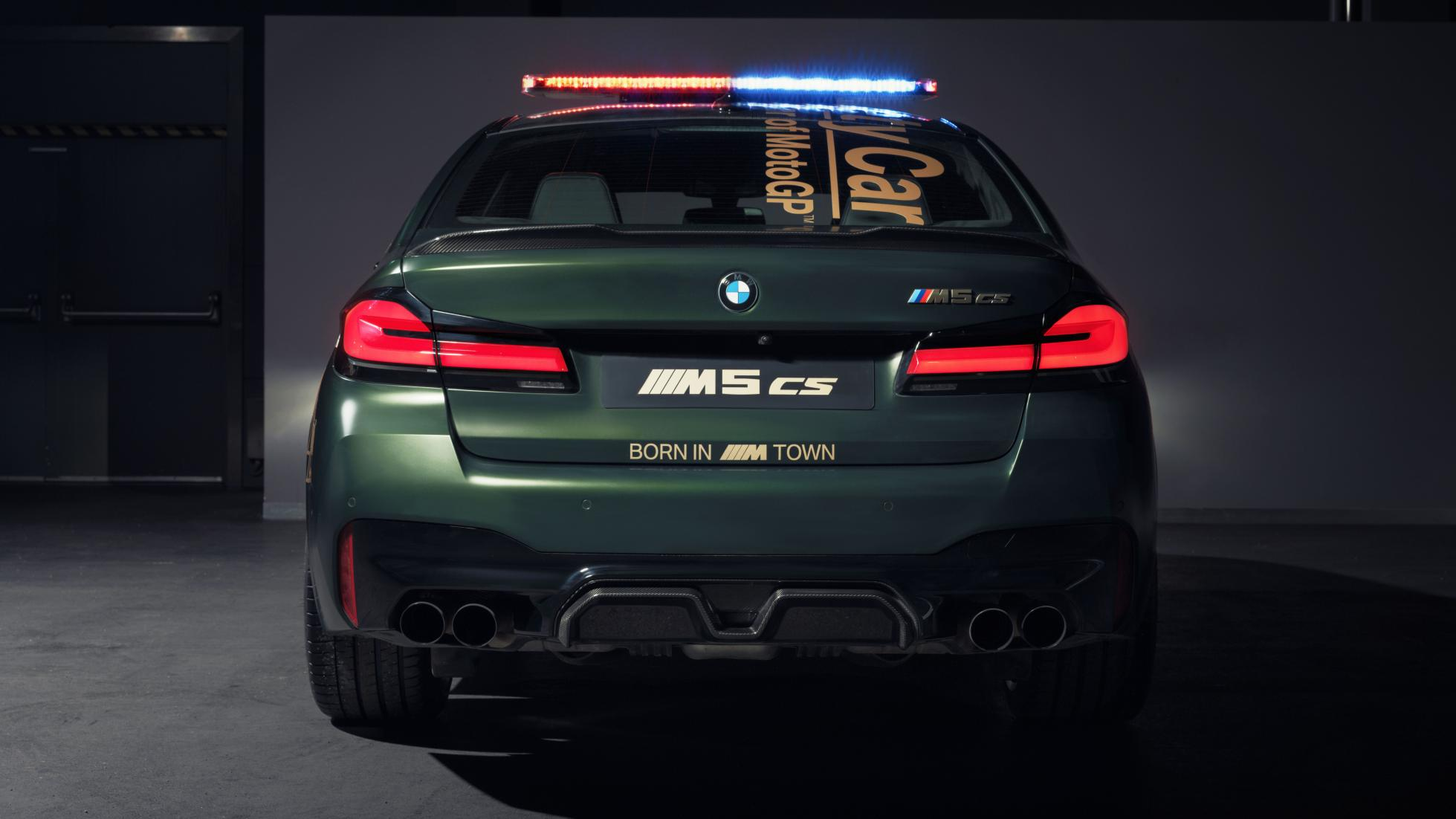 The BMW M5 as a MotoGP safety car, rear view