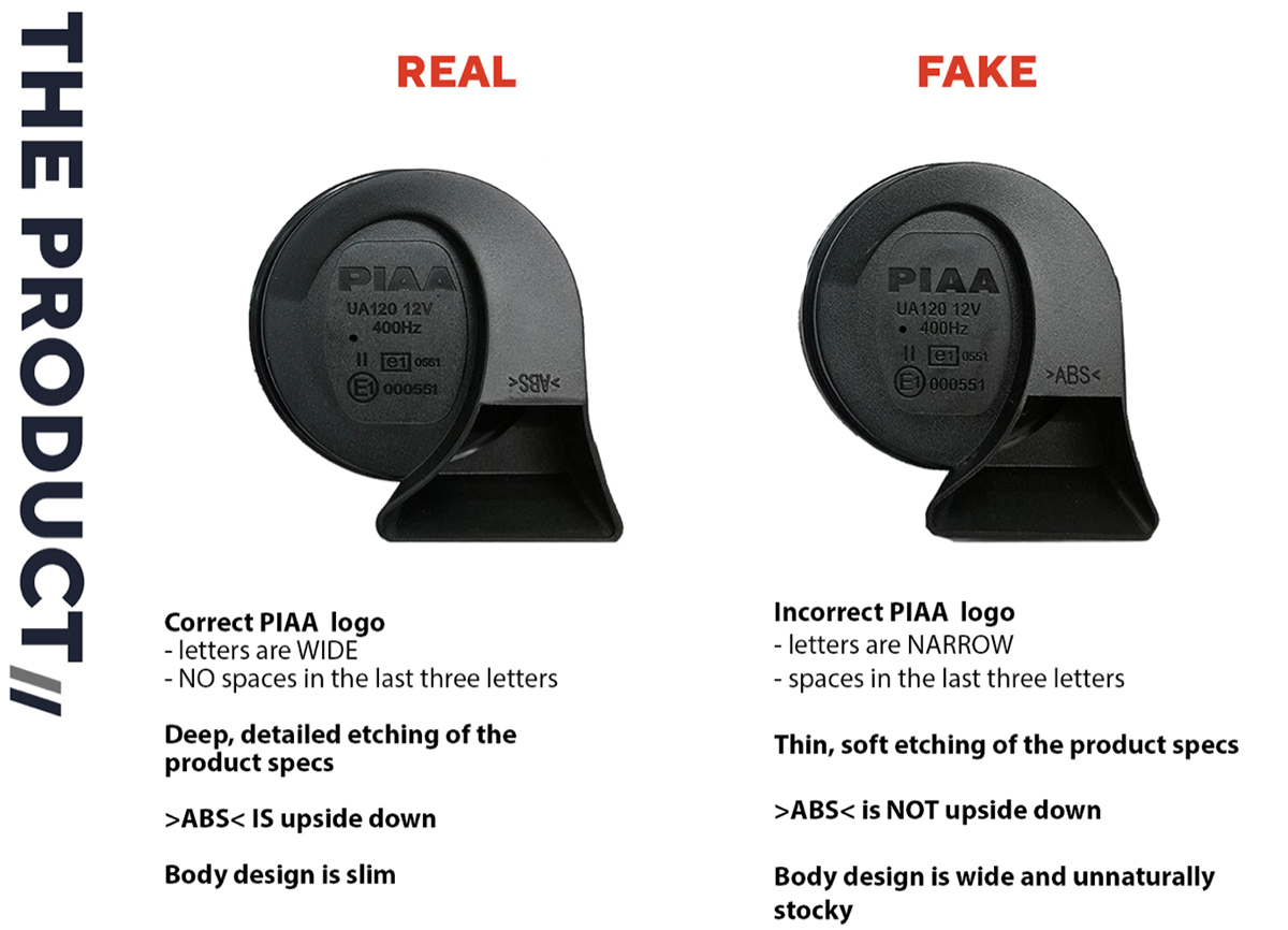 PIAA Advisory: Logo Details Between Geniune and Counterfeit Products