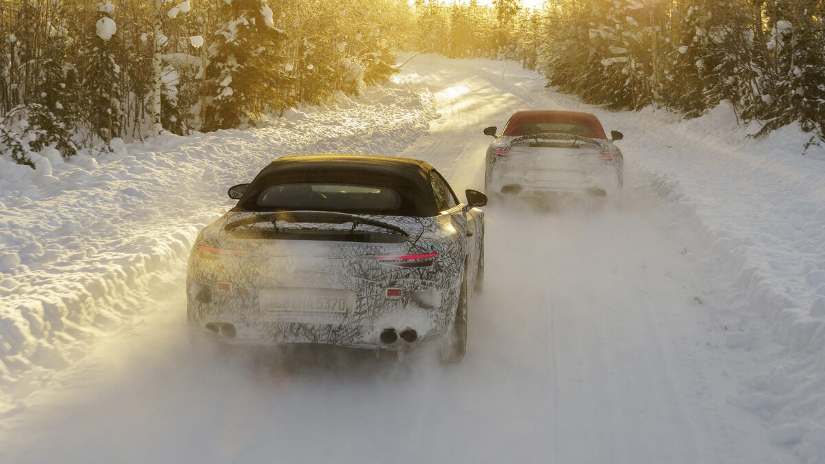 The Mercedes-AMG SL Driving in Snow