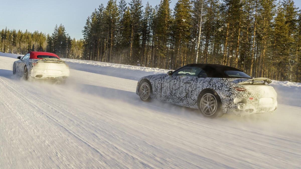 The Mercedes-AMG SL On Snowy Roads