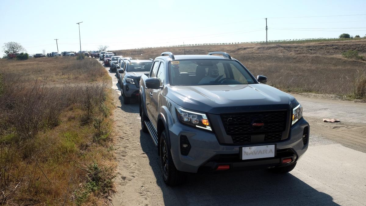The Nissan Navara Pro-4X on the road