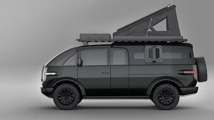 The Canoo Electric Pickup Concept as a Camper