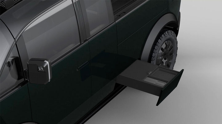 The Canoo Electric Pickup Concept Side Tool Storage