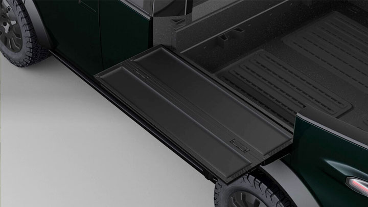 The Canoo Electric Pickup Concept Cargo Bed Deployed Wall