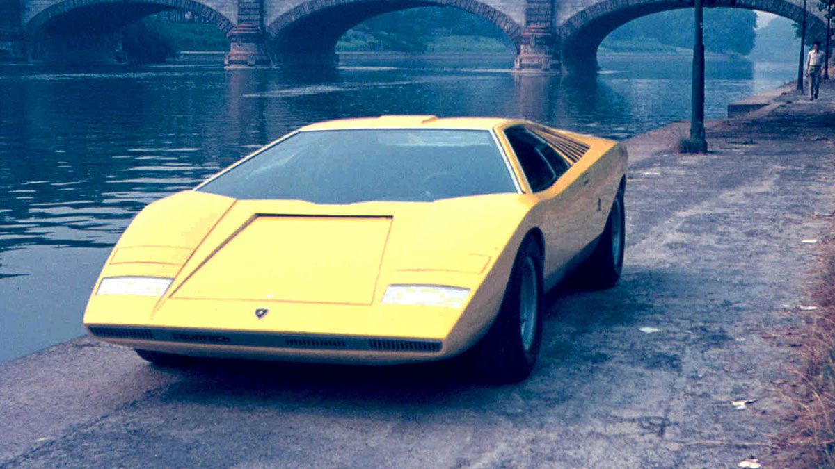 The Lamborghini Countach LP500 angled front view