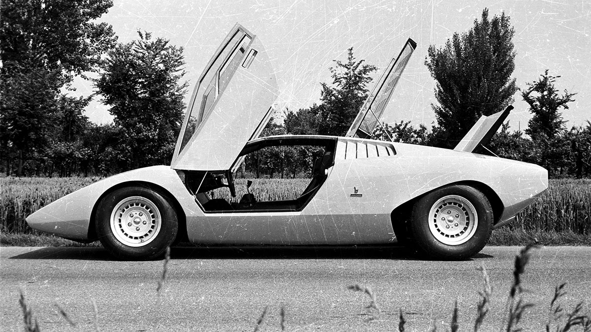The Lamborghini Countach LP500 Doors and Trunk Open