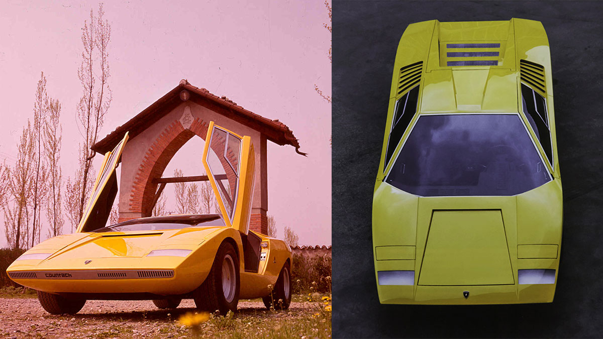 The Lamborghini Countach LP500 Doors open and top view