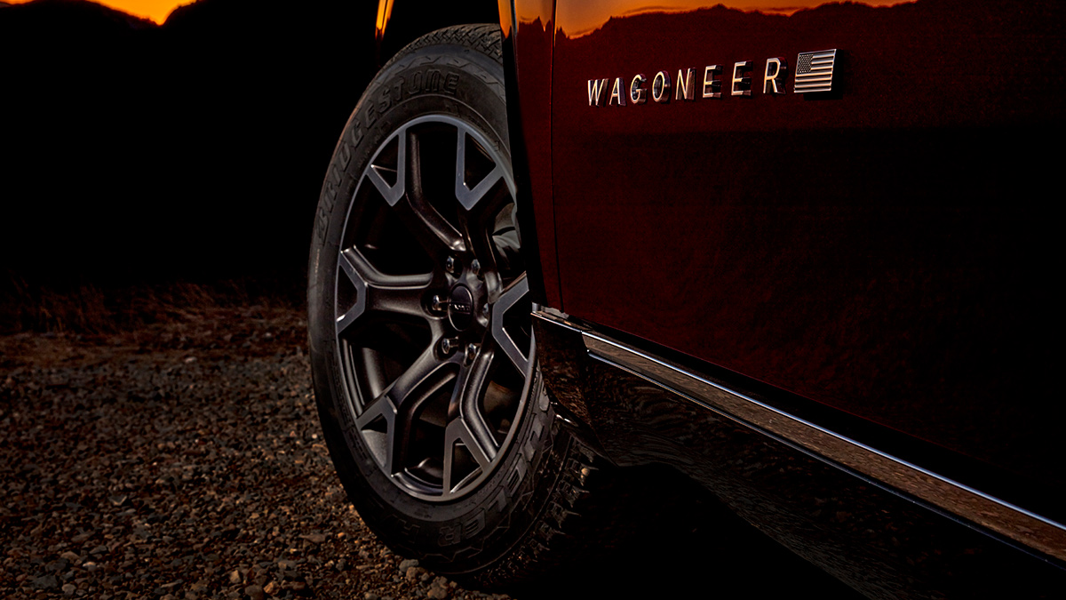 The Jeep Wagoneer front tire