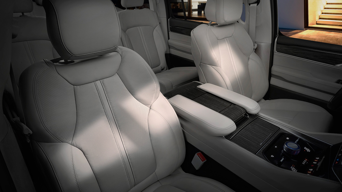 The Jeep Wagoneer passenger seats and center console
